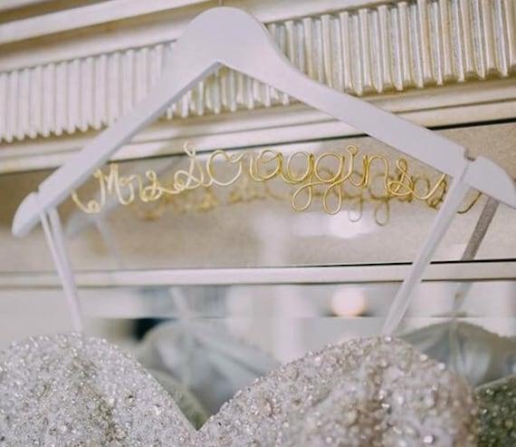 White Wedding Dress Hanger: Items Similar To Bridal Hanger One Line, Custom Bridal