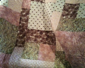 """A Modern and Edgy 36"""" X 41"""" Color Block Quilt In Pinks and Browns"""