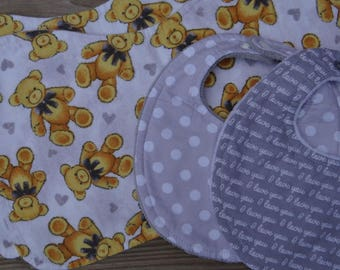 Baby Gift Set ~ Vintage Teddy Bear Gift Set ~ Two Dribble Bibs & Two Burp Cloths ~ Gender Neutral Baby Gift