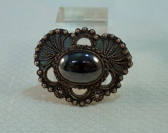 Victorian Reproduction Sterling and Hematite Throat Brooch