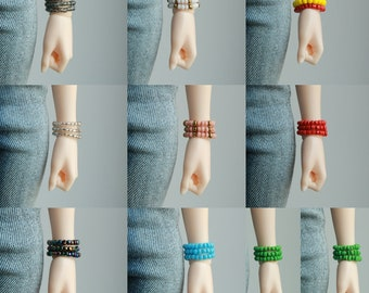 More colors! Glass beads bracelet set of 3 jewelry for minifee bjd msd