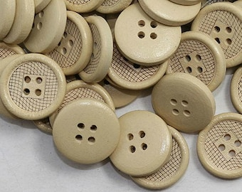 """10 Assorted  Tan  Etched Wooden Buttons 3/4 """" for Sweaters or Crafts"""