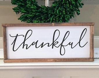 Thankful Wood Sign, Framed Wood Sign, Black and White, Rustic, Farmhouse, Gallery Wall, Thanksgiving, Faith, Inspirational Sign, Wall Decor