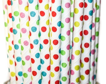 MULTI-Color POLKA DOTS- Paper Straws Baby Bridal Wedding Shower- Multi Color(25)