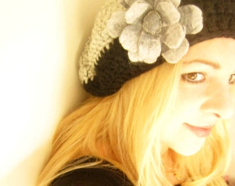 Grey and Black Crochet Berret Hat -Felt Flower Brooch-Hand Felted with Merino Wool in Grey shades