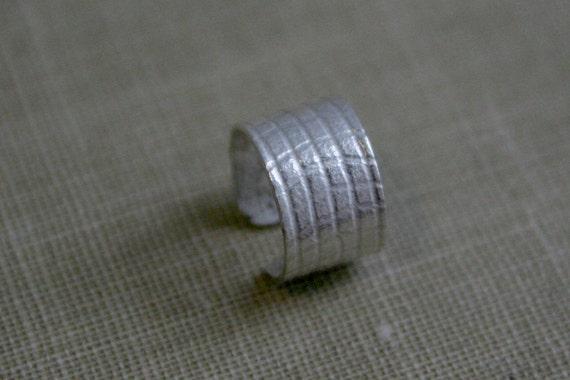 Sterling Silver Ear Cuff - Wide Grid Pattern