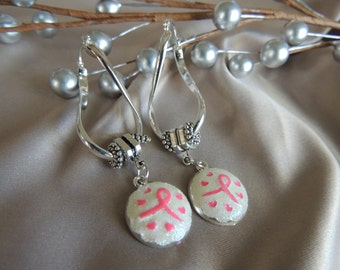 BREAST CANCER EARRINGS...Silver Dangling Awareness Earrings...by TLCcharms