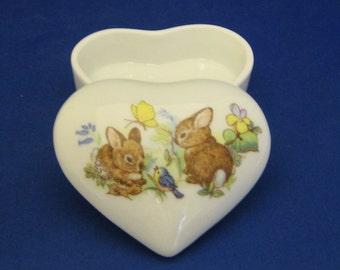 Heart shaped porcelain box, cute bunnies or bears