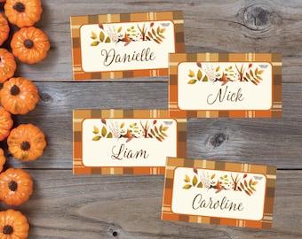 Thanksgiving Placecards, Friendsgiving Placecards, Custom Thanksgiving Placecards, Printable Thanksgiving Placecards, Plaid, Floral, Leaves