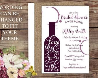 Bon Wine Theme Bridal Shower, Wine , Vineyard Bridal Shower, Brown Kraft, Wine  Bottle