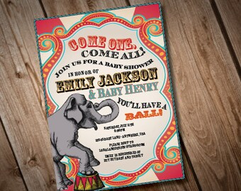 Digital Printable Vintage Carnival Baby Shower Invitation