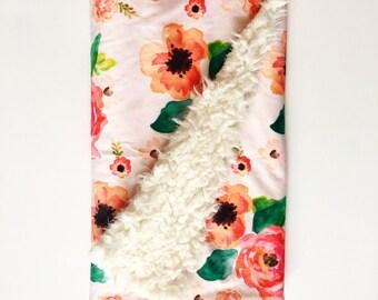 Baby Blanket Floral Dreams. Dream Blanket. Lovey. Faux Fur Baby Blanket. Minky Blanket. Pink Baby Blanket. Floral Baby Blanket.