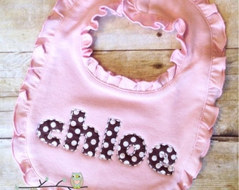 Applique Name Bib - Choose Your Fabric