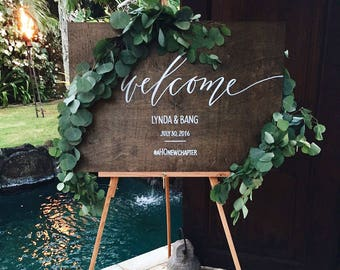 Wedding Welcome Sign by Hawaii Calligraphy, Calligraphy Welcome Sign, Calligraphy Welcome, Handwritten Signs, Calligraphy Handmade Sign