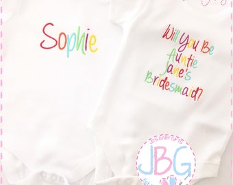 Personalised Baby Vest/Bodysuit, Rainbow Embroidered text, Custom Baby Clothes, add any wording to this vest