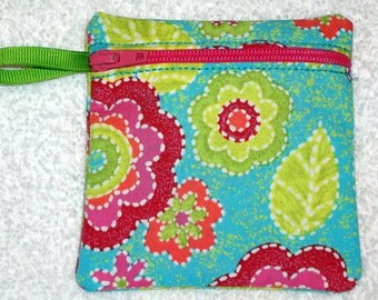 Handmade - Colorful retro floral  - Coin Pouch  Fabric Gift Card Holder