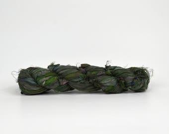 Forest Green Sari Silk Ribbon Yarn, 100 grams (3.5oz), 6 Weight (Super Heavy)