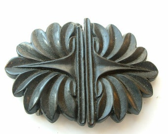 Victorian two piece mourning buckle