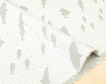 Japanese Fabric Kokka Toy Fabrics - fish - light gray - 50cm