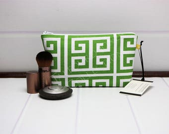 Greek Key - Makeup Bag - Small Makeup Pouch - Green Cosmetic Bag - Womens Accessories - Makeup Holder - Premier Prints - Sister Gift Ideas