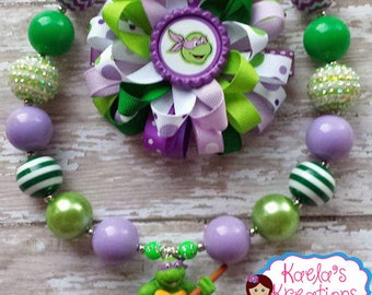 Ninja Turtle Hair Bows,Purple and Green Ninja Turtle Hair Bow Set,Donatello Ninja Turtle Hair Bow,Donatello Ninja Necklace, Donatello