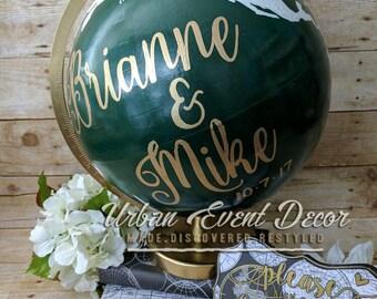 "Custom Painted Globe, Guestbook Globe, World Globe, Wedding Guest Book, Wedding decor, Nursery, Anniversary, 12"" Metal stand,"