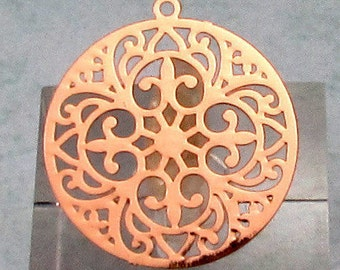 Round Laser Filigree Charm, Rose Gold, 4 Pc. RG29