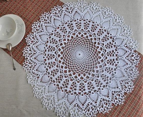 Crochet napperon dentelle table d coration lin ajour tricot - Napperon dentelle crochet ...