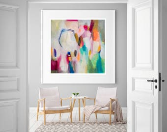 """Large abstract giclee print, colorful abstract modern print art, Orange green blue, giclee art print abstract art print """"Scattered Geometry"""""""