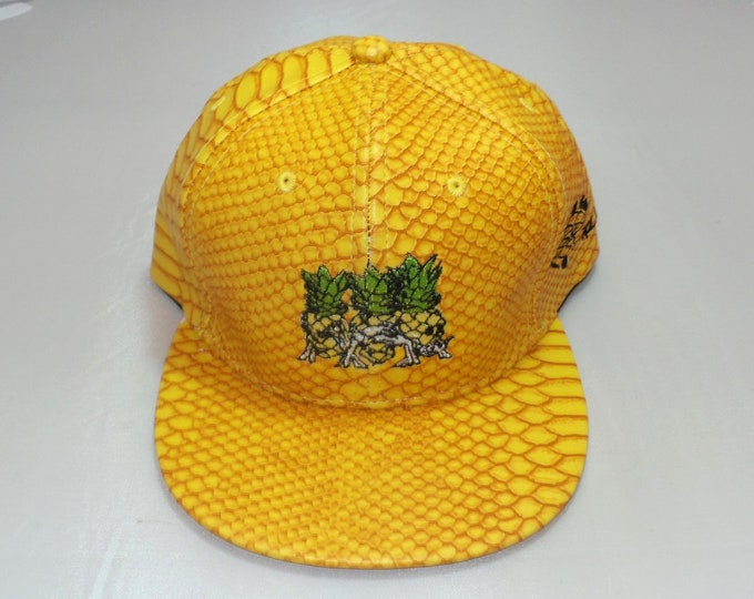 Buckle-back Flat-Brim Hat - Pineapples Don't Tell (One of a kind)