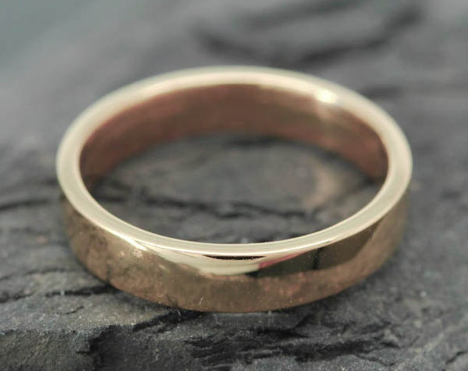 14K Rose Gold Ring, 4mm x 1mm, Wedding Band, Wedding Ring, Rose Gold Band, Flat Band, Square Band, Size up to 8