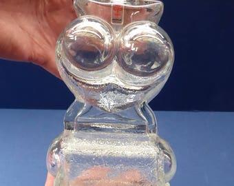 1960s Lars Hellsten for Skruf Glass, Sweden. Collectable Mid Century SCANDINAVIAN Owl Bottle