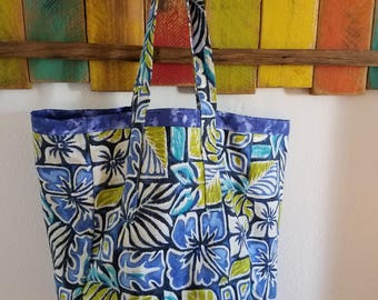Blue Flowered Canvas Reversible Tote/Grocery Bag; Flowered Everyday Tote/Bag; Tote; Blue; Canvas and washable