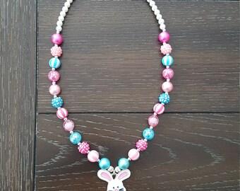 Easter Spring Bunny Rabbit Inspired Children's Bubblegum Chunky Bead Necklace