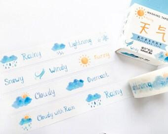 Weather Washi Tape 15mm/ Sun, Cloud, Rain Washi Tape/ Masking Tape/ Decorative Tape/ 15mm