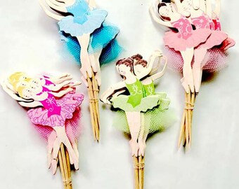 24 pc Ballerina Dancing Colors Party Supplies Cardboard Cupcake Toppers - 4 assorted Designs with wooden sticks BD0530