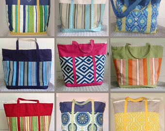 Custom Made to Order, Custom Made Extra Large Beach Bag, Extra Large Diaper Bag, Extra Large Tote Bag, Zippered Top With Pockets