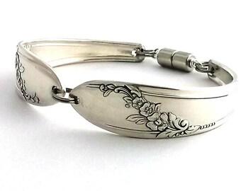 Spoon Bracelet Queen Bess 1946 Violet February Birth Flower Birthday Bridesmaid Bridal Gift Silverware Jewelry Vintage Silver Flatware