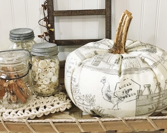 Fabric Pumpkin-Farmhouse Pumpkin-Jumbo