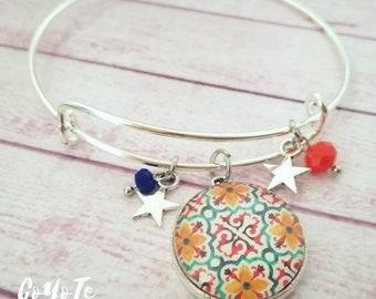 Rigid bracelet, pendant bracelet, mosaic cameo, Glass cabochon, boho