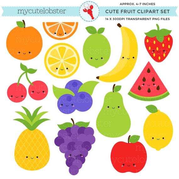 Cute Fruit Clipart Set clip art set of orange apple