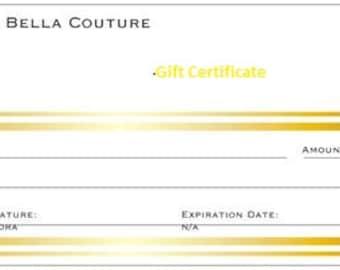 Gift Certificate 500 Dollars for Bella D'Andalora