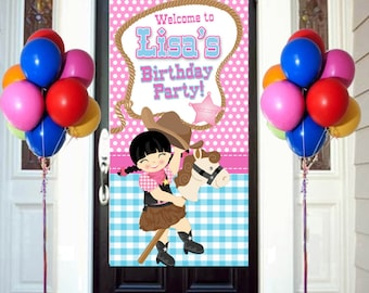 Sherrif Party Birthday Door Banner  ~ Personalize Cowgirl Party Banner