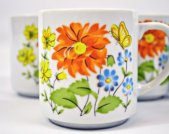 VTG- Vintage, 1970s, Boho, floral mugs with Orange flowers and yellow butterflies, Set of 4 Hippie style Teacups, white