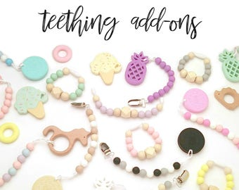 Wooden Silicone Pacifier Clip Teether Toy Add-On Baby Girl Baby Boy Baby Shower Gift Baby Gift Silicone Teether Wooden Teether