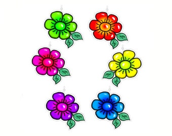 Jazzy Flowers...Bling Charm Ornaments...Set of 12.