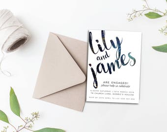Galaxy Engagement Invitation - A6 Printable Digital Download for Engagement Announcement