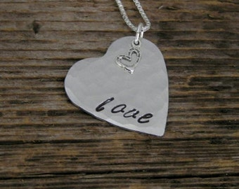 Hand Stamped Hammered Heart Sterling Silver Stamped Love Necklace