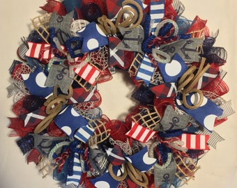 Summer wreath, beach wreath, Fourth of July wreath, 4th of July wreath, wreath, wreaths, nautical wreath, patriotic wreath, wreath, wreaths