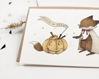 70% OFF - Halloween Card - Trick or Treat - 10 Greeting Cards